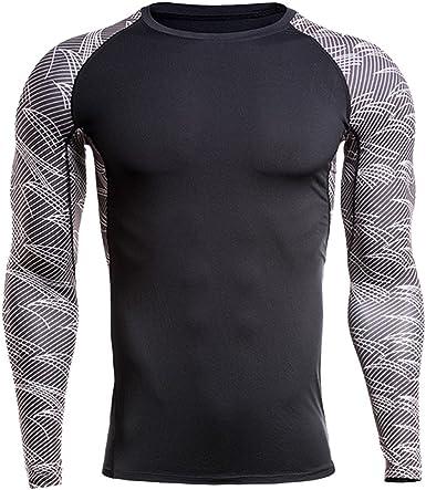 Elásticos De Secado Rápido Camiseta Deportiva para Hombre Manga Larga Diseño a Rayas Negro YM XXXXL: Amazon.es: Ropa y accesorios