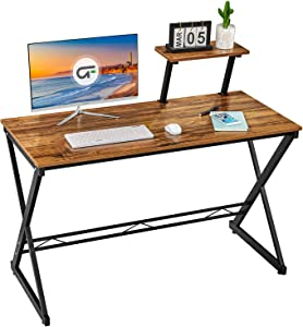 "GreenForest Computer Desk 39.3"" Writing Table with Moveable Storage Shelf, Study Table Home Office PC Workstation Modern Gaming Desk, Walnut"