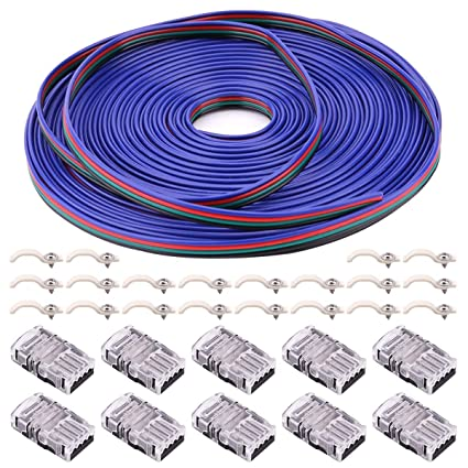 4Pin RGB LED Strip Connector Kit - 10mm 5050 RGB LED Connector Kit includes  10x Strip to Wire Quick Connectors, 32 8ft RGB Extension Wire Cable, 20x