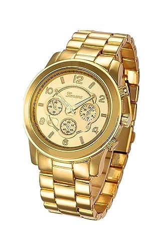 Reloj de pulsera - Geneva reloj de pulsera unisexo de banda de acero inoxidable de color oro: Amazon.es: Relojes