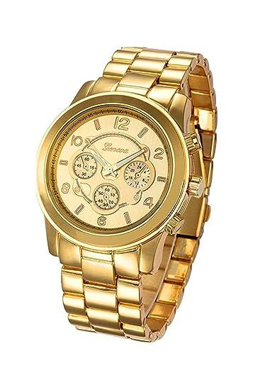 d05bef65a2e2 Reloj de pulsera - Geneva reloj de pulsera unisexo de banda de acero  inoxidable de color oro