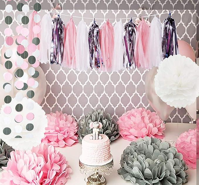 Mesa Baby Shower Nina.Baby Pink White Grey Baby Girl Baby Shower Party Paper
