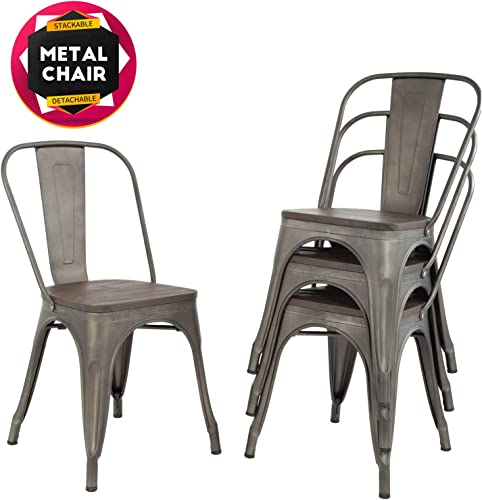 Dining Chairs Set of 4 Indoor Outdoor Chairs Patio Chairs Metal Chairs Restaurant Chair 18 Inch Wooden Seat Height Tolix Side Bar Chairs Metal Kitchen Stackable Chair 330LBS Weight Capacity