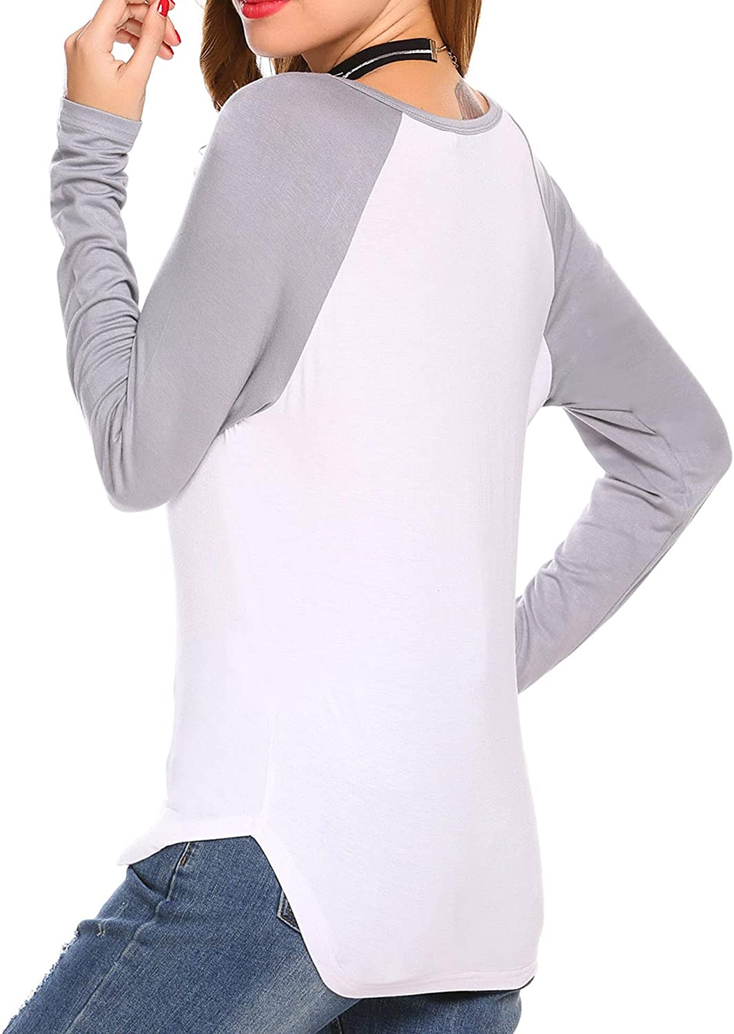 S-XXL Esqlotre Womens Casual Long Sleeve Patchwork Henley Shirt Tunic Tops Blouse