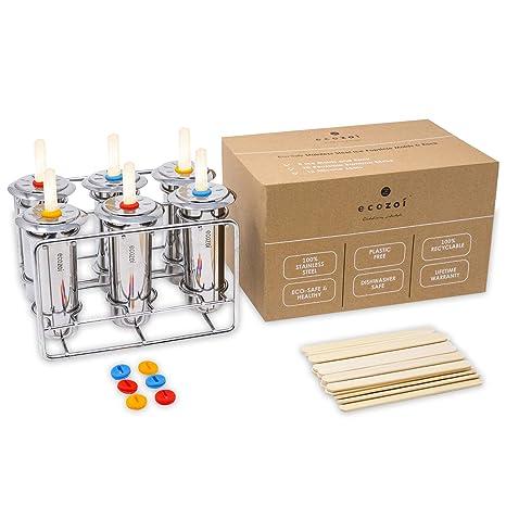 Amazon com: Ecozoi Stainless Steel Ice Popsicle Molds and