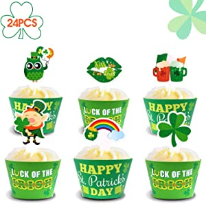 St Patrick's Day Cupcake Toppers and Wrappers, Saint Paddy's Day Party Cupcake Decorations Supplies, Set of 24