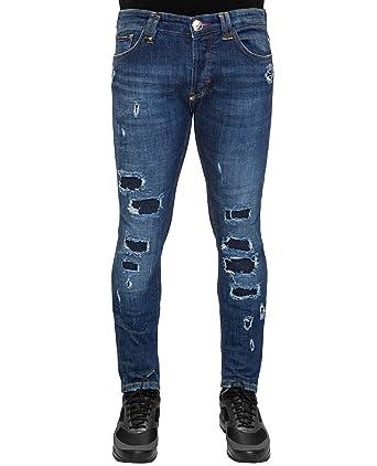 9aa9cecd3e0 Philipp Plein - Snatch - Blue Denim Distressed Jeans  Amazon.fr ...
