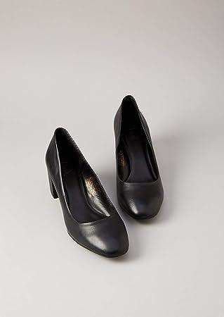 Marca Amazon - find. Round Toe Block Heel Leather Court - Zapatos de Tacón Mujer