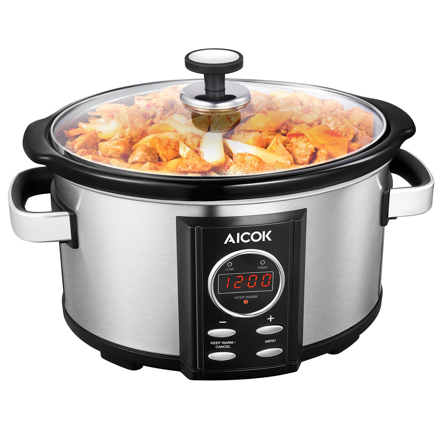 Slow Cooker Aicok 7 Quart Slow Cookers Programmable with 12 Hour Timer Auto Shut Off and Instant Food Warmer, Anti-scalding Handle and Oval Nonstick Removable Crock Stoneware,Stainless Steel