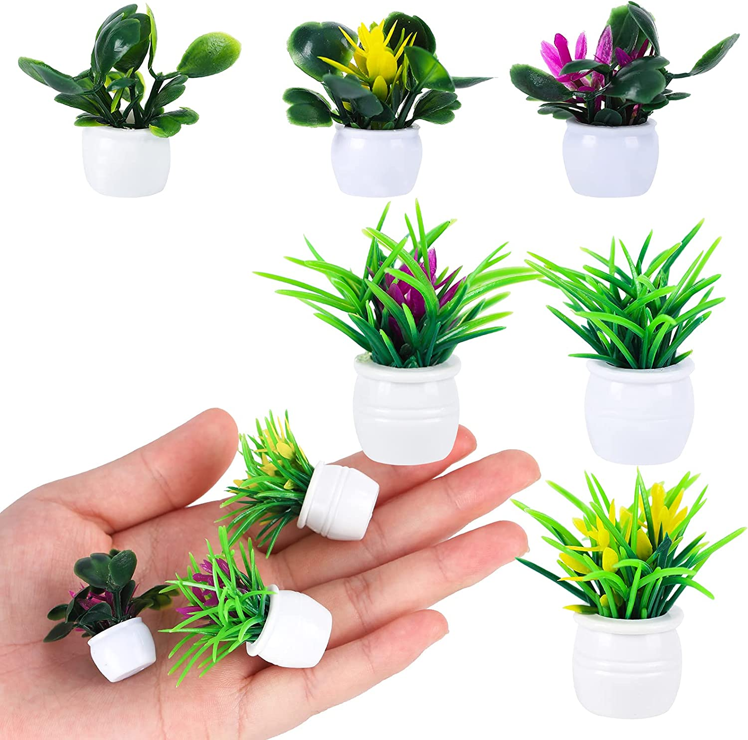 Gukasxi 18 Pieces Dollhouse Plant Miniature Bonsai Plant Mini Potted Plant Flower Model Tiny Fake Greenery Ornament Dollhouse Furniture for Toddlers Girls and Boys, 6 Styles