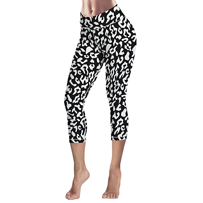 f23c39a88 Image Unavailable. Image not available for. Color  Womens Yoga Pant Sexy  Leggings Black White Leopard Print ...