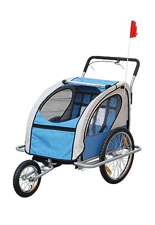 Aosom 2IN1 Double Baby Bike Trailer Stroller Jogger Blue, Trailers ...