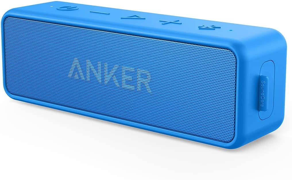 Anker Soundcore 2 12W Portable Wireless Bluetooth Speaker: Better Bass, 24-Hour Playtime, 66ft Bluetooth Range, IPX7 Water Resistance & Built-in Mic, Dual-Driver Speaker for Beach, Travel, Party- Blue