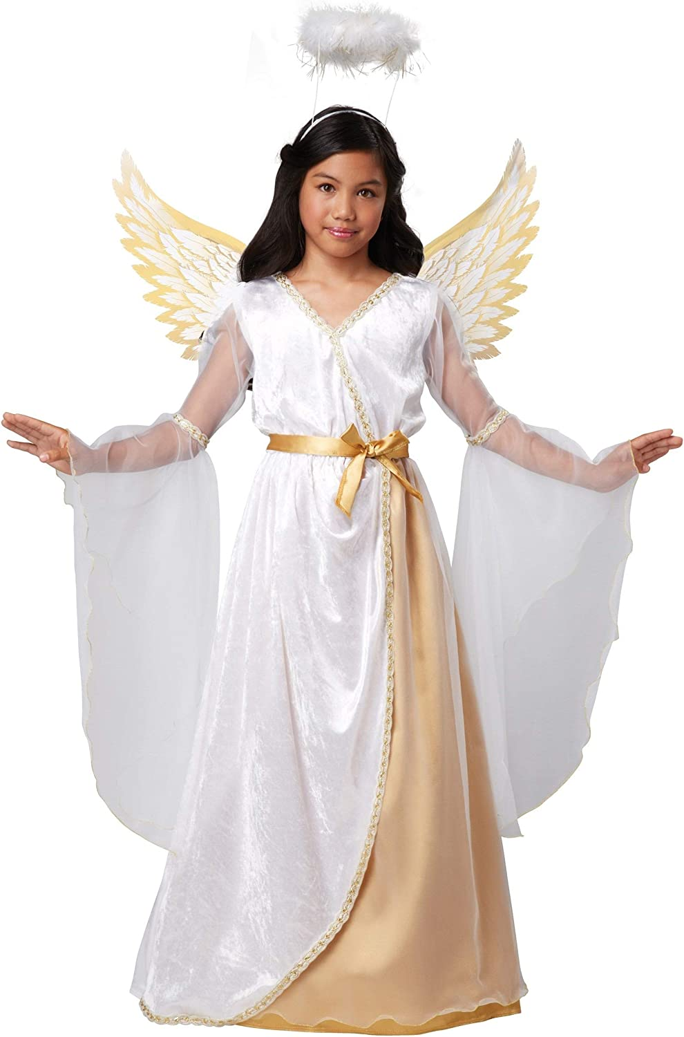 Girls Guardian Angel Costume - L White