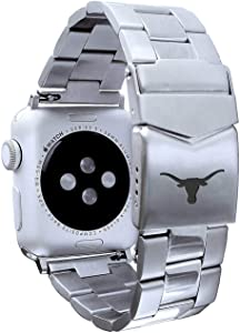 AFFINITY BANDS Texas Longhorns Stainless Steel Link Style Watch Band Compatible with Apple Watch - 38/40mm