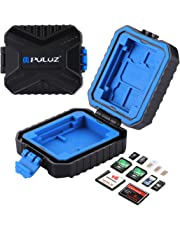 SIM SD CF TF XQD Card Case, PULUZ 11 Slots Mini Portable Wateroroof Resistant Memory Cards Holder Stocker Carrying Shell Storage Box Cover Protector, Capacity: 3*SIM + 2*XQD + 2*CF + 2*TF + 2*SD Cards