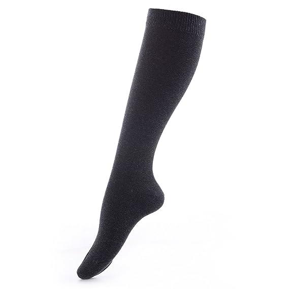 Laulax® de alta calidad mejores peinado algodón rodilla alta calcetines en 9 diseños Reino Unido tamaño 4 - 9 Gris Anthracite/Dark Grey Medium: Amazon.es: ...