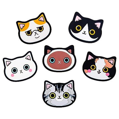 Amazon.com: Yunko - 6 posavasos de silicona para gatos, para ...