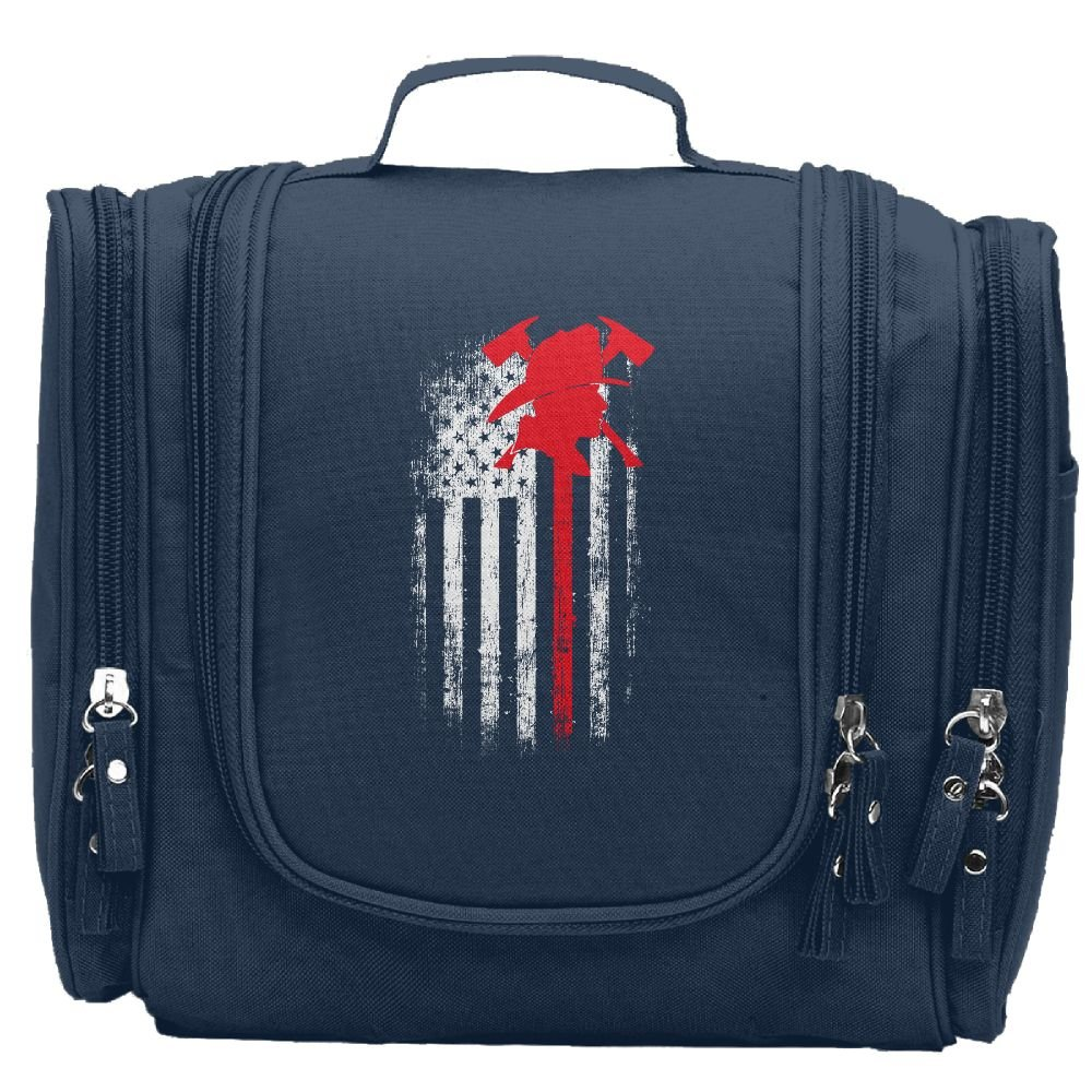 JCBaa Firefighter Axe Red Line Flag Makeup Bag/Cosmetic Bags Women's Portable Brushes Case Toiletry Bag Travel Kit Jewelry Organizer Multifunctional Pouch/Bags For Household,Business,Vacation
