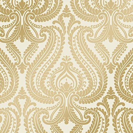 Shimmer Damask Metalic Wallpaper Cream Gold ILW980011