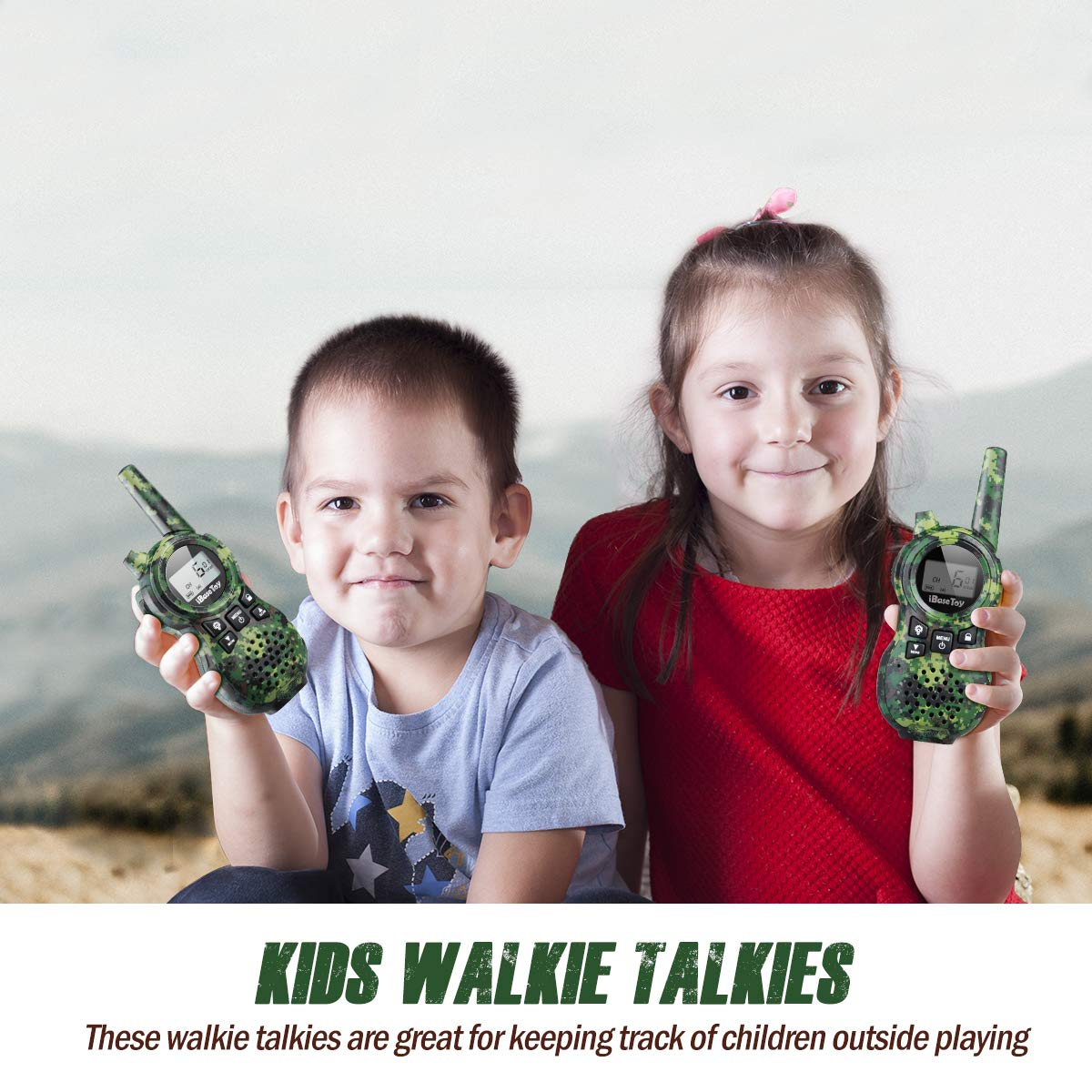 iBaseToy Walkie Talkies for Kids, Rechargeable Walkie Talkies with 22 Channels, 4-Miles Range Radio with Flashlight, LCD Screen and Charging line for Outdoor Adventures, Camping, Hiking - 2 Pack by iBaseToy (Image #8)