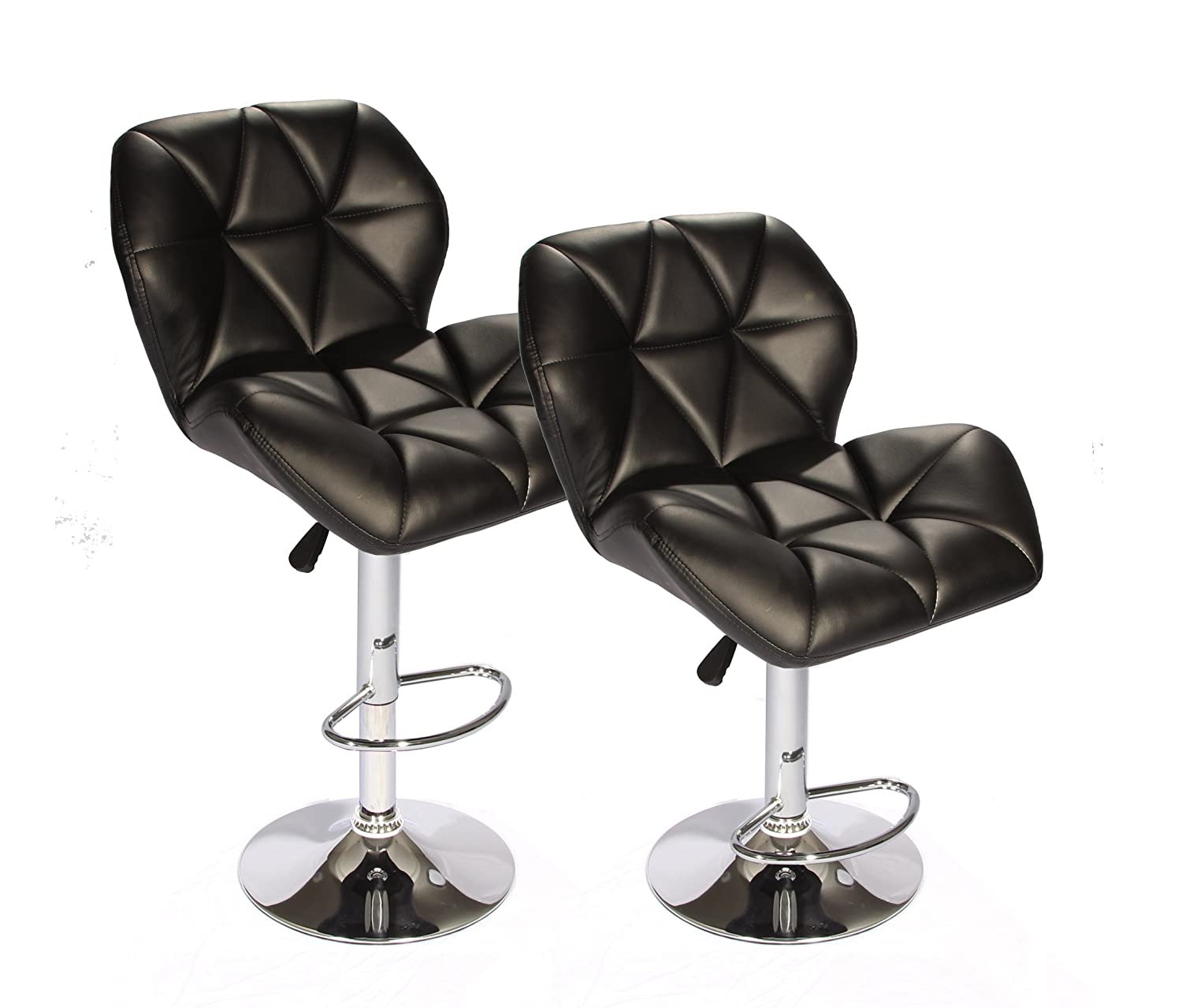 amazoncom set of 2 black bar stools leather modern hydraulic swivel dinning chair kitchen u0026 dining
