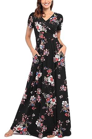 a782bfb79e1c Comila Short Sleeve Maxi Dresses for Women, Summer V Neck Dress Pockets  Vintage Floral Maxi