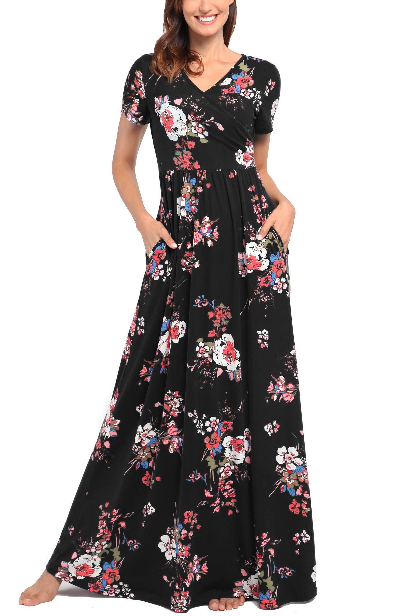 Comila Short Sleeve Maxi Dresses for Women, Summer V Neck Dress Pockets Vintage Floral Maxi Casual Dress with Pockets Elegant Work Office Long Dress Black S (US 4-6)
