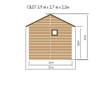 Casa de madera para jardín de Cadema, 2, 7 m x 3, 9 m, (16 mm) con ventanas, incluye suelo, cobertizo Gilet: Amazon.es: Jardín