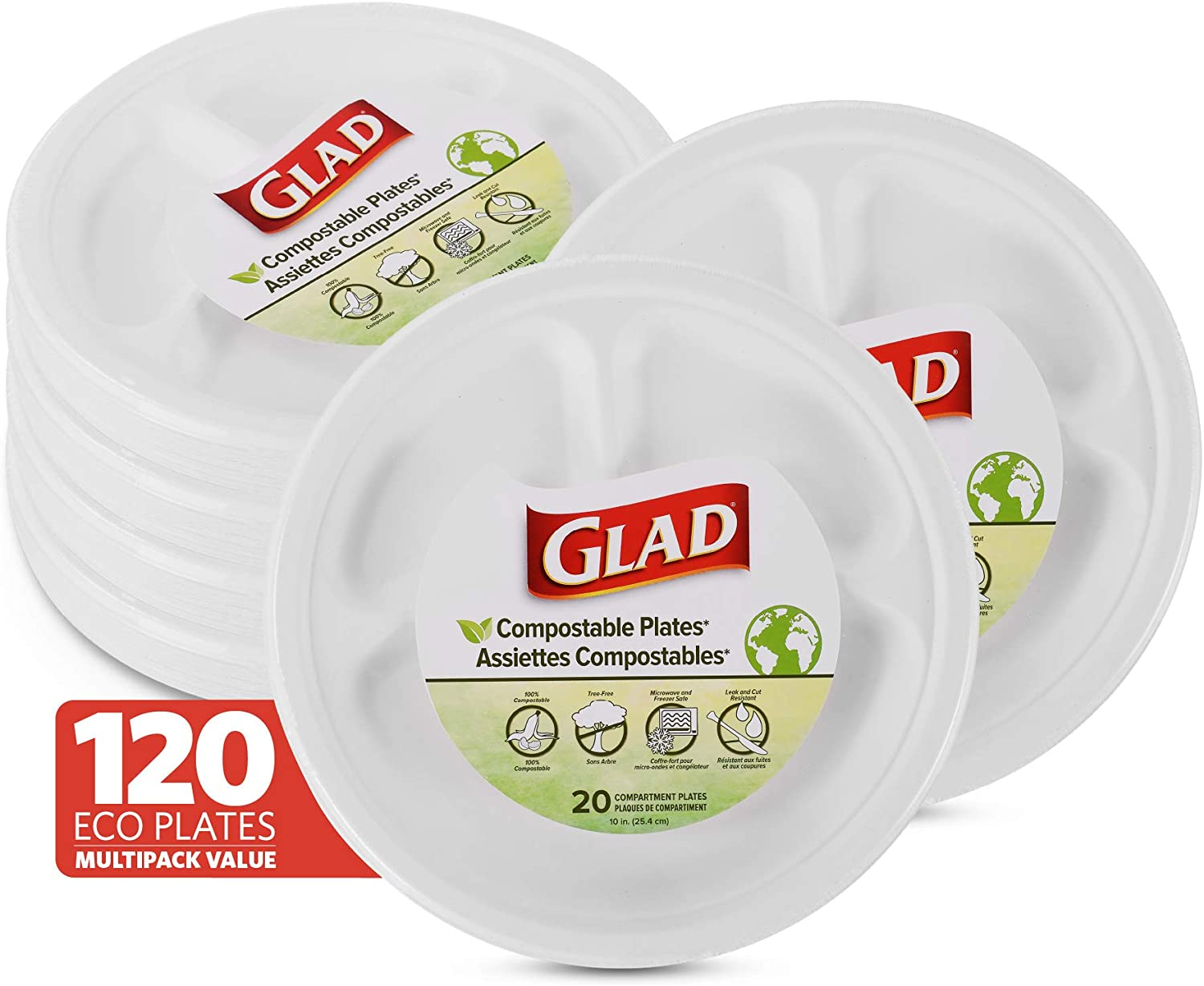 Glad Compostable Paper Plates 10-in with Dividers Sugarcane Disposable Plates (Microwavable & Freezer Safe/Cut-Resistant Eco-Friendly Plates), 6 Pack, Compartment Plates, 120 Count