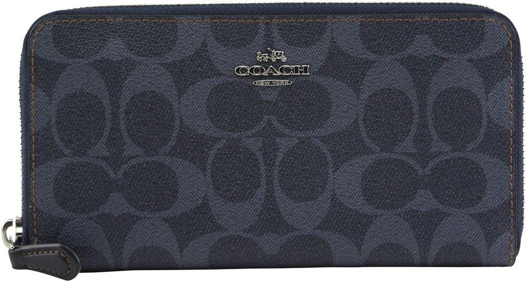 Coach Women's Denim Signature PVC Accordion Zip Around Wallet, Style F57665, Silver Denim by Coach