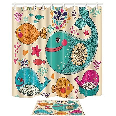 KOTOM animal cortina de ducha y conjunto de esteras, dibujos animados peces pintados a mano y ...
