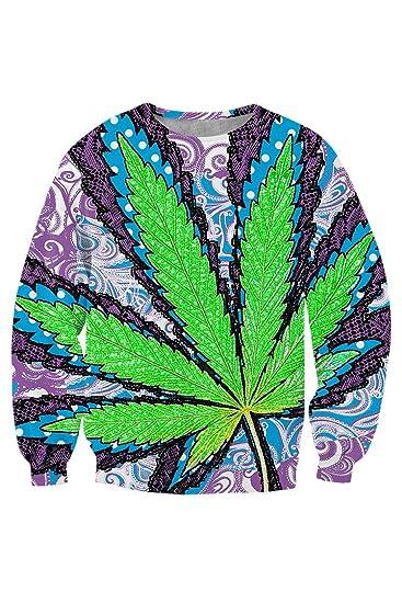 Kisscy Women's Marijuana Leaf All Over Print Long Sleeve Pullover Sweatshirt Pullover