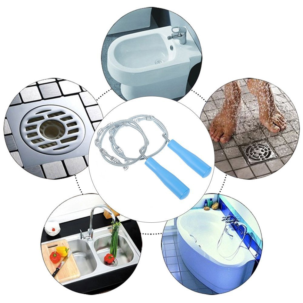 Drain Cleaner, Professional 39.30 Inch Drain Snake Hair Catcher-Drain Cleaner Tool for Bathroom Tub, Toilet, Clogged Drains, Dredge Pipe, Sewers, Sink, Kitchen Sink Slow Drain Relief (Pack of 2) by Yi PF G star (Image #2)