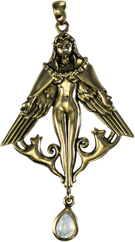 Dryad Design Bronze Norse Goddess Freya Pendant with Natural Rainbow Moonstone