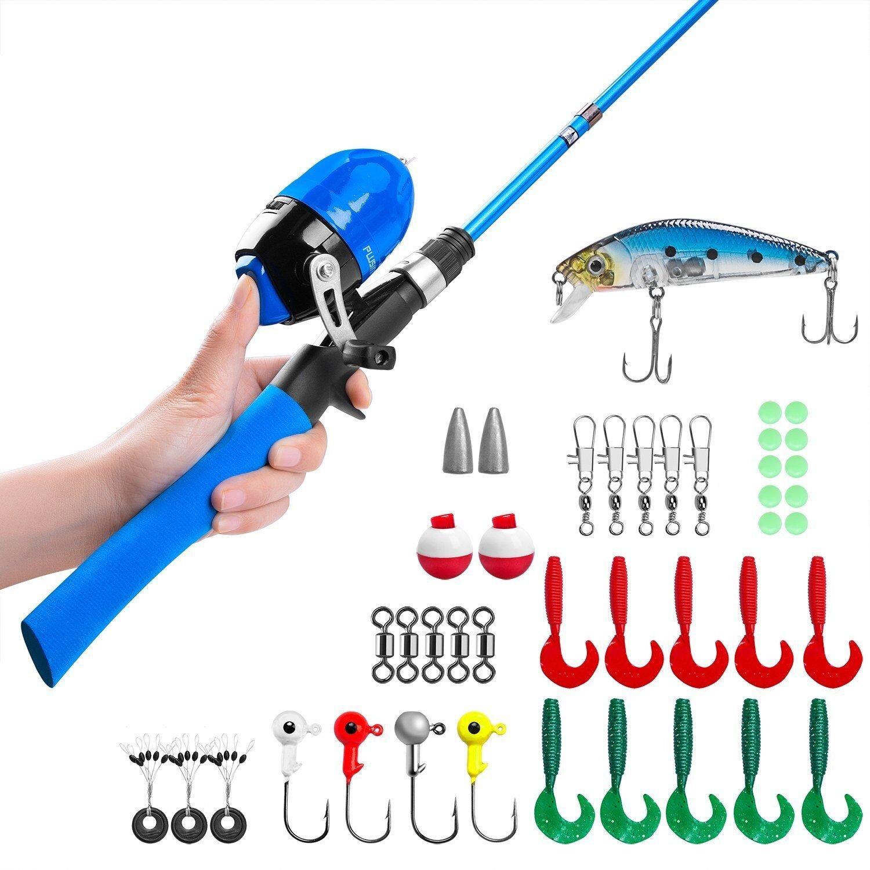PLUSINNO Canne à pêche pour Enfants, Canne à pêche télescopique et Combos à Moulinet avec Moulinet de pêche Spincast et String avec Ligne de pêche product image