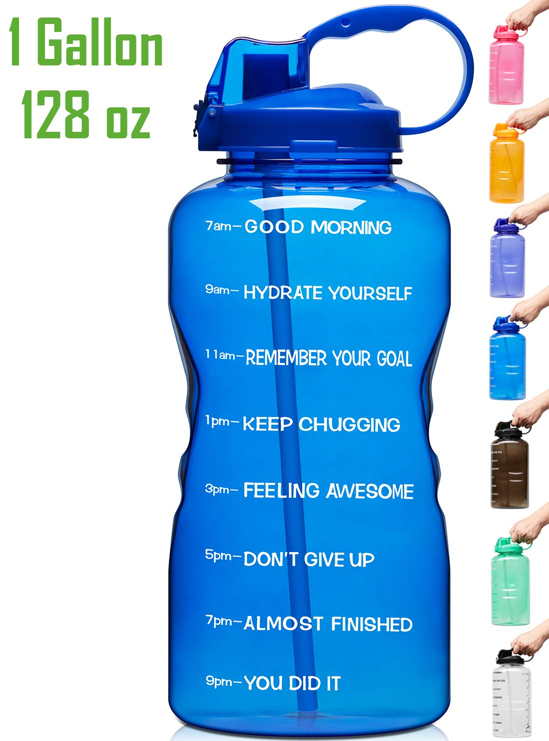 Venture Pal Large 128oz Leakproof Bpa Free Fitness Sports Water Bottle With Motivational Time Marker Straw To Ensure You Drink Enough Water