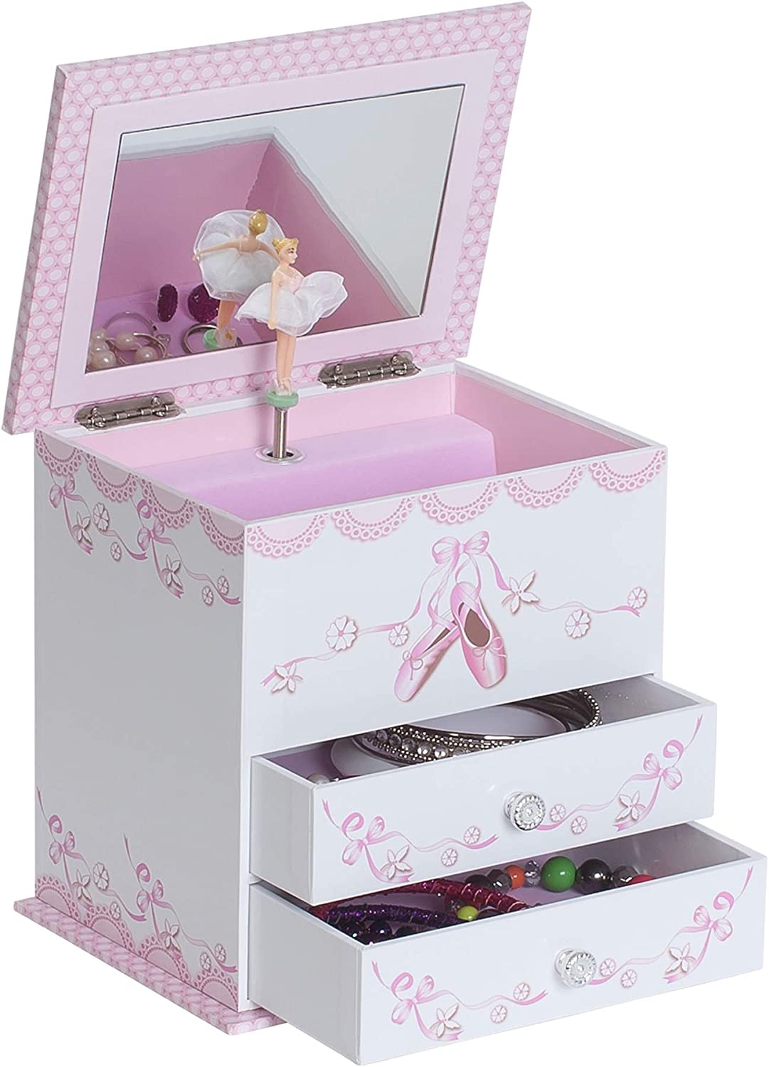 Angel Ballerina Music Jewelry Box for Girls, Necklace and Earring Organizer