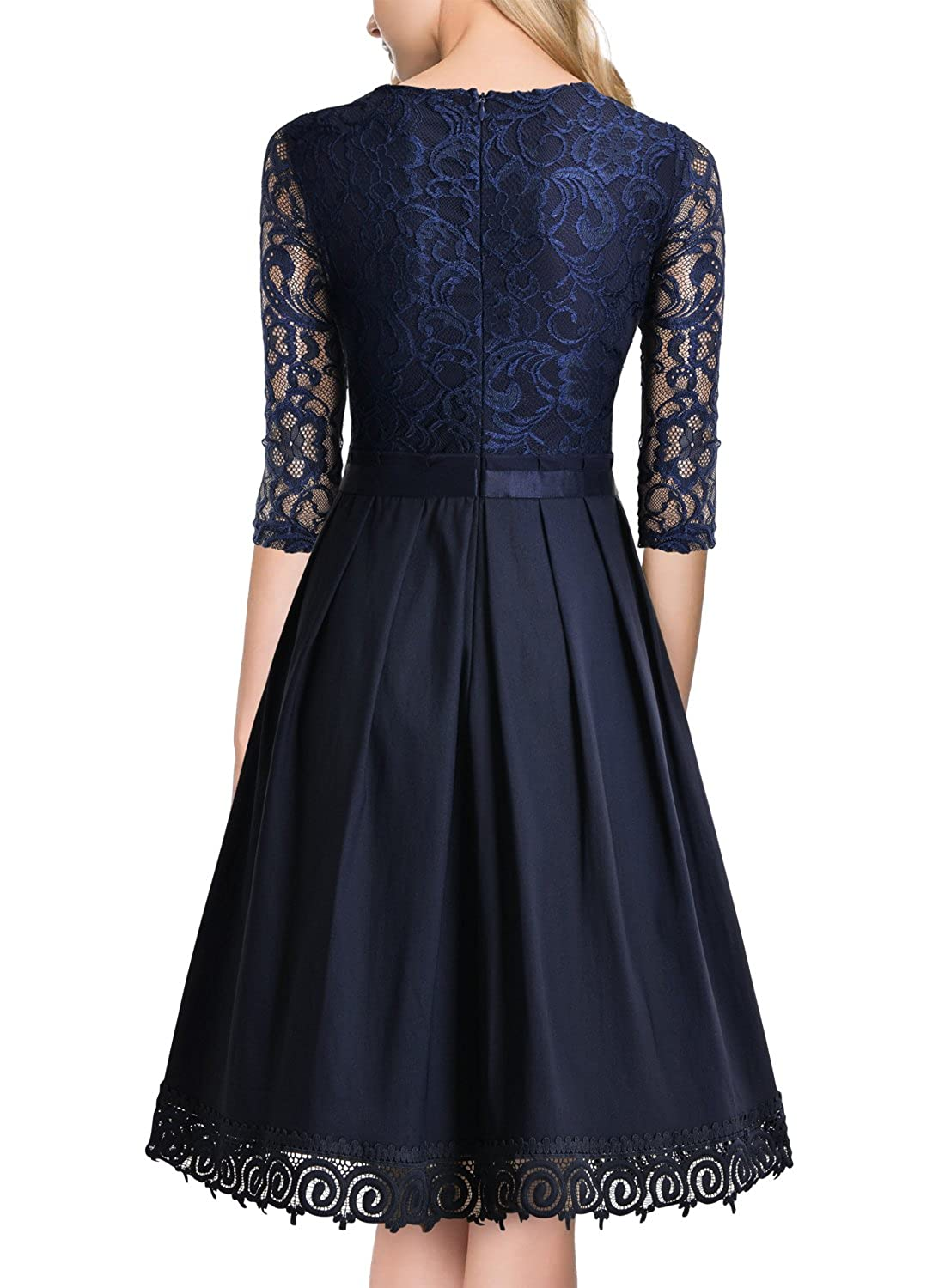 b56bd1c76d99 Amazon.com: MISSMAY Women's Vintage Half Sleeve Floral Lace Cocktail Party  Pleated Swing Dress Navy Blue XX-Large: Clothing
