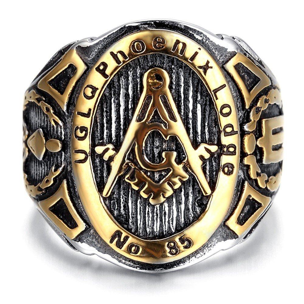 BOBIJOO Jewelry - Chevalière Bague Franc-Maçonnerie UGLQ Phoenix LOGDE 85 Acier Doré Or Fin Maître