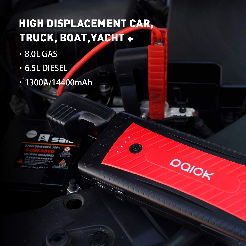 Paick G28 Auto Starthilfe 1300A Spitzenstrom Power Pack Jump Starter 14400mAh Autobatterie Boost (Bis zu 8.0L Gas, 6.5L Diesel) tragbare Power Bank USB Ladeanschluss & LED Taschenlampe