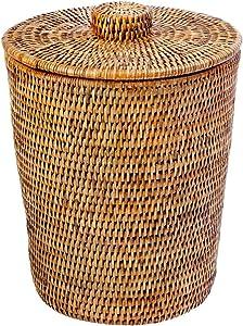 "KOUBOO 1030073 La Jolla Rattan Round Waste Basket with Plastic Insert & Lid, 9.5"" x 9.5"" x 12.5"", Honey Brown"