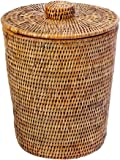KOUBOO La Jolla Rattan Round Waste Basket with Plastic Insert & Lid, Honey Brown