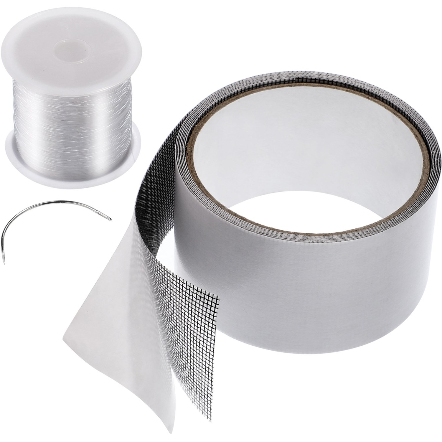 Windows and Door Screen Repair Fiberglass Cloth Mesh Tape with Strong Adhesive Seal, Looper and Repair String for Repair Patch Holes Tears Prevent Mosquitoes Insects Jovitec