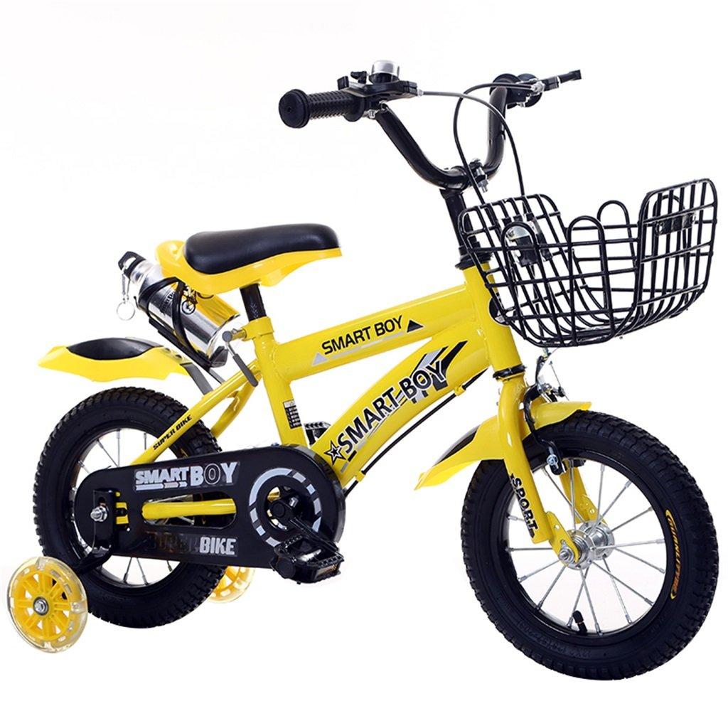 KANGR-子ども用自転車 子供用自転車アウトドアマウンテンバイク2-3-6-8ボーイズとガールズ子供用おもちゃ調節可能ハンドルバー/フラッシュトレーニングホイール付きサドルウォーターボトルとホルダー-12 / 14/16/18インチ ( 色 : イエロー いえろ゜ , サイズ さいず : 14 inch ) B07BTXP97Z 14 inch|イエロー いえろ゜ イエロー いえろ゜ 14 inch