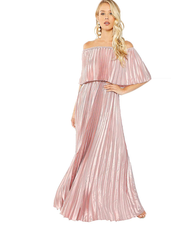 Milumia Women's Casual Off The Shoulder Layered Ruffle Party Beach Long Maxi Dress