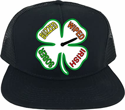 7bd4beb1245e8 ST. Patrick s ST Pattys Day Drunkometer Shamrock Irish 4 Four Leaf Clover  Adult Trucker Snapback