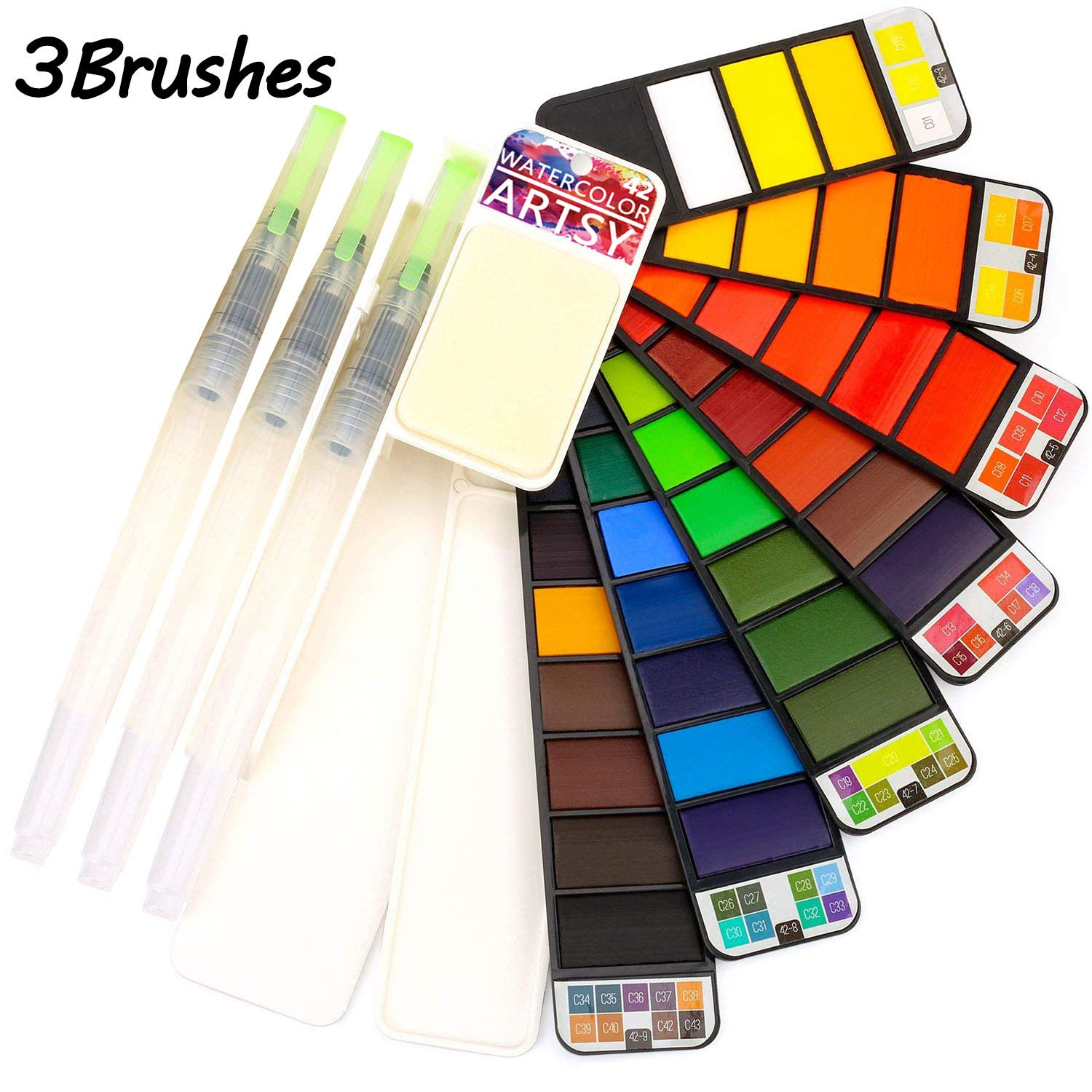 Artsy Watercolor Paint Set – 42 Assorted Colors with 3 Brushes – Perfect Foldable Watercolor Field Sketch Set for Outdoor Painting –Travel Pocket Watercolor Kit