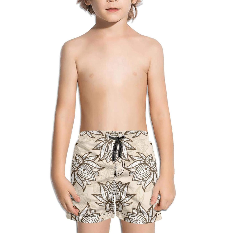 Lenard Hughes Boys Quick Dry Beach Shorts with Pockets Vintage Indian Lotus Flower Swim Trunks for Summer