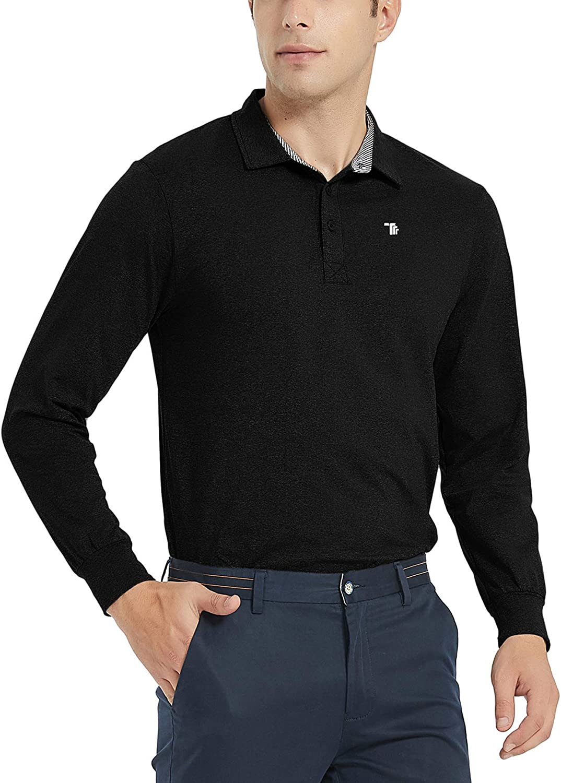 JINSHI Men's Golf Shirts Long Sleeve Sports Polo Shirts Athletic Shirts Tee